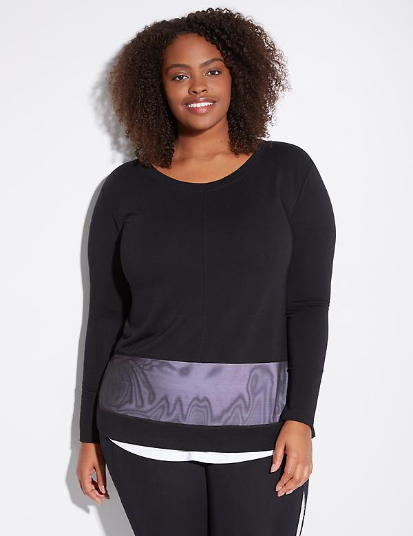 Spa Active Sweatshirt with Layered Woven Hem