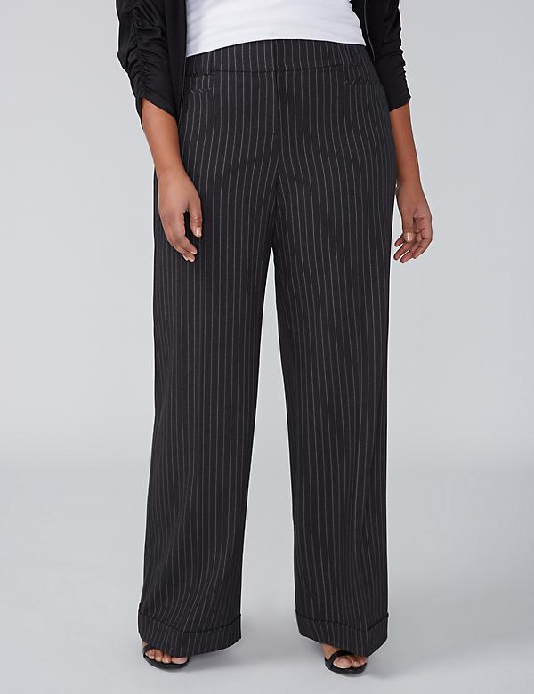 Allie Tailored Stretch Wide Leg Pant - Cuffed & Striped