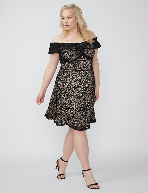 Fast Lane Off-the-Shoulder Lace Dress