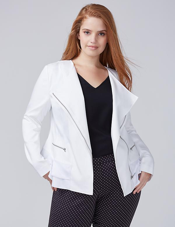 Double Weave Stretch Ruffle-Hem Jacket