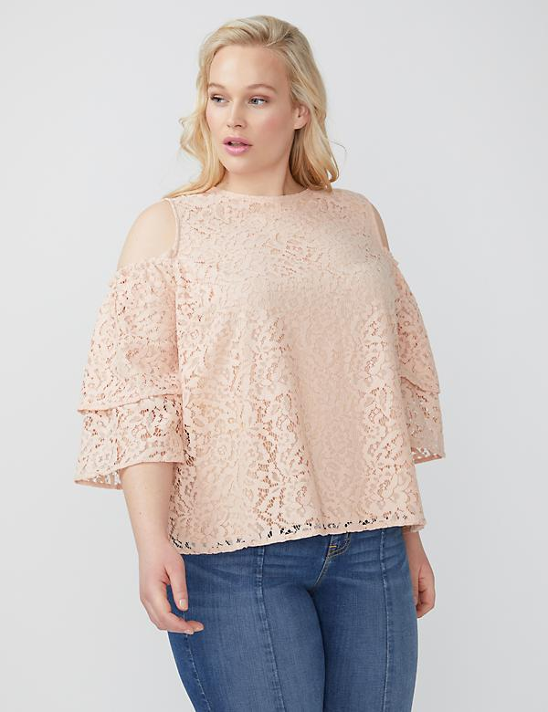 Fast Lane Lace Cold-Shoulder Top