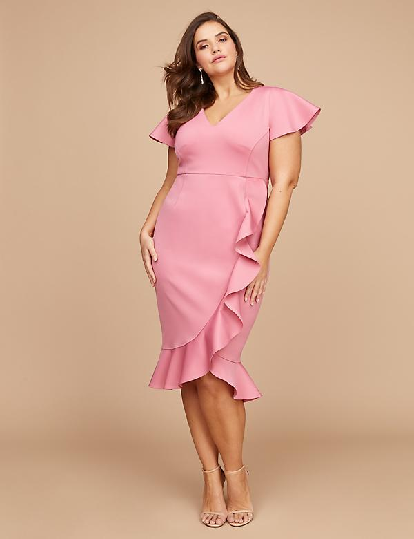 Fluted Ruffle Sheath Dress