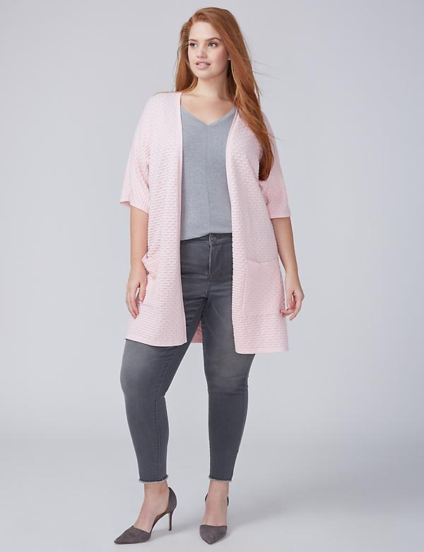 Short-Sleeve Textured Dolman Overpiece