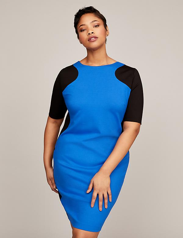 Lane collection color block ponte sheath dress