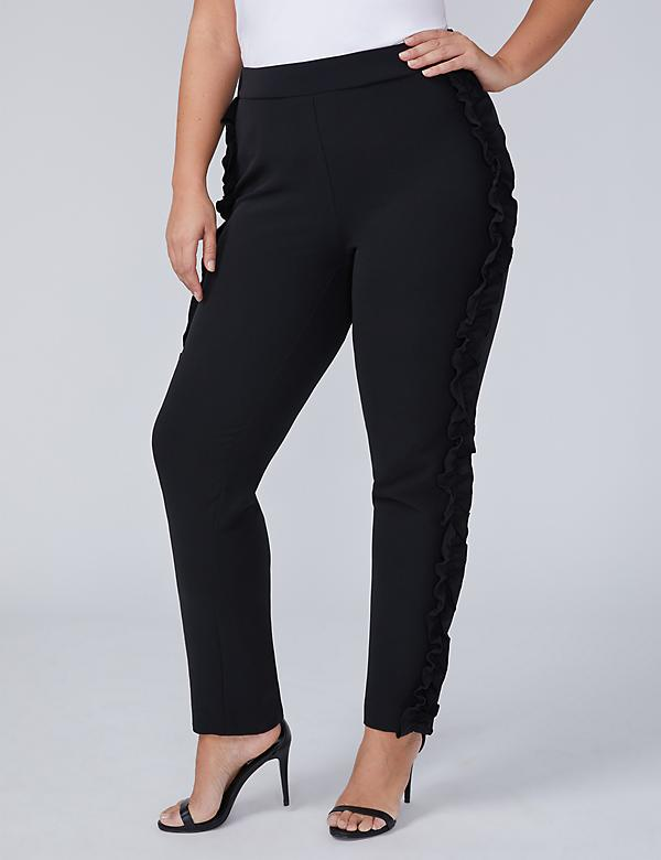 Side Ruffle Ankle Pant