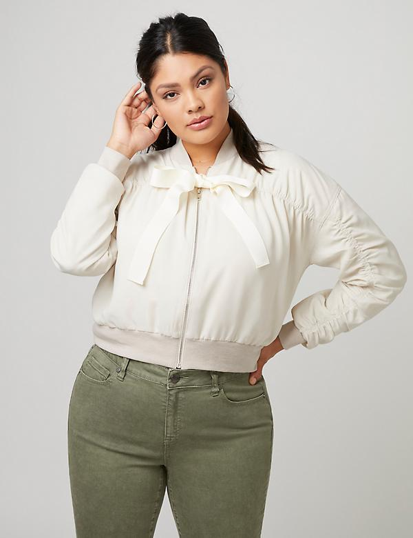 Fast Lane Ruched Cropped Bomber Jacket