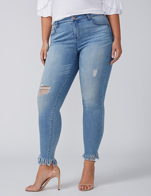 Power Pockets Super Stretch Skinny Ankle Jean - Mop Hem