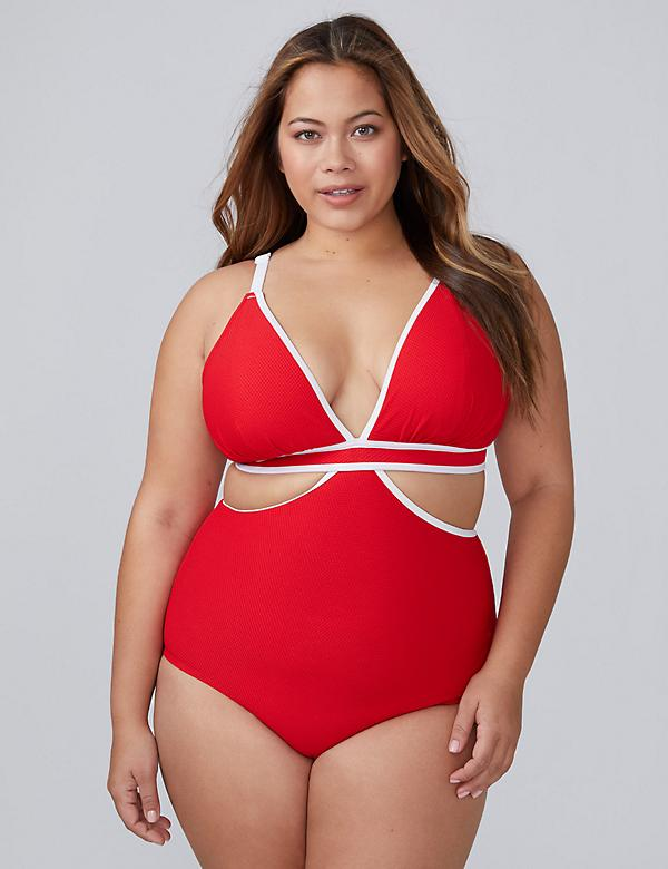 Textured Swim Monokini with Built-In No-Wire Bra