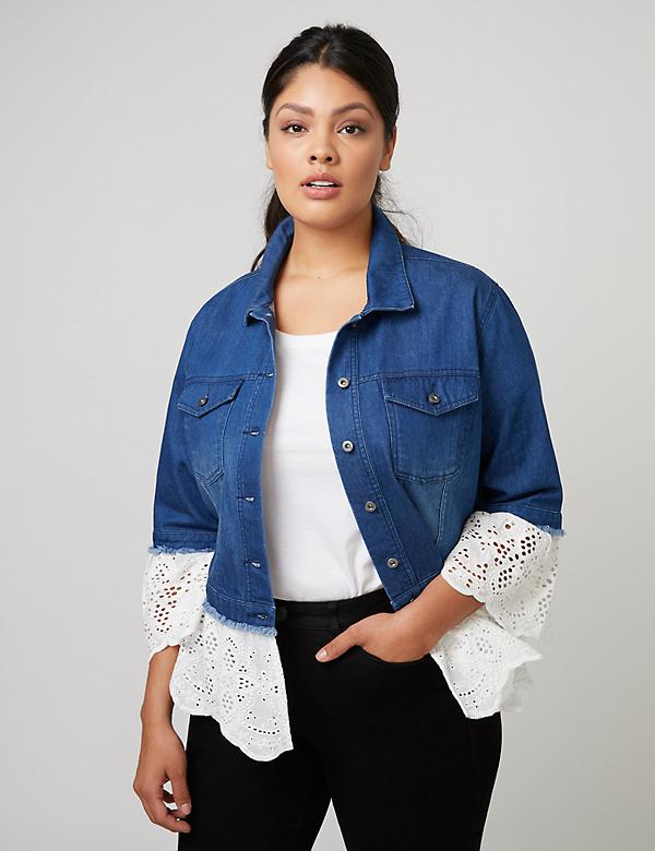 Fast Lane Denim Jacket with Eyelet Peplum