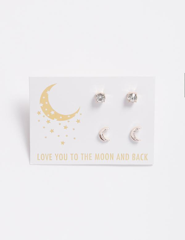 Moon & Stud Earrings Duo