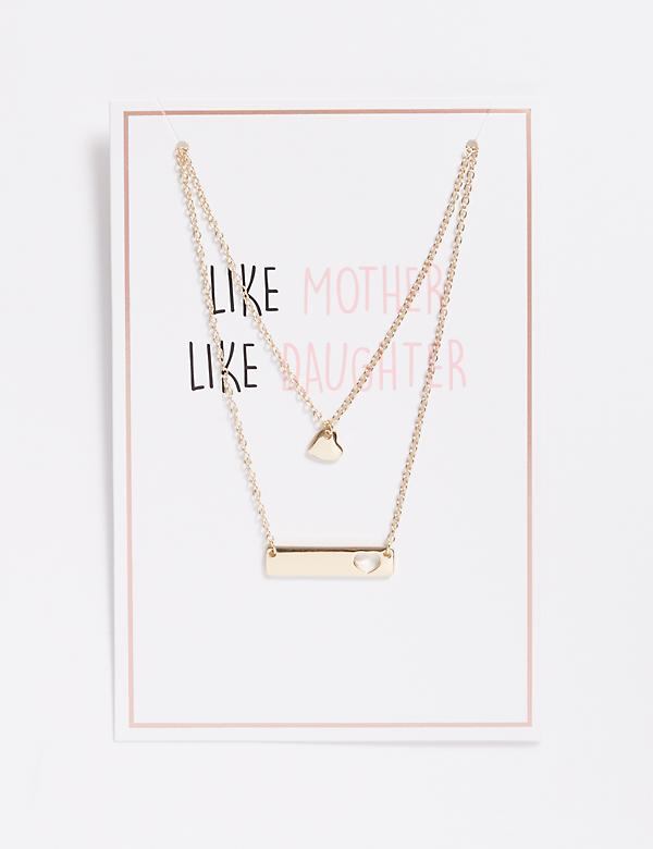 Like Mother Like Daughter Heart Necklace Duo