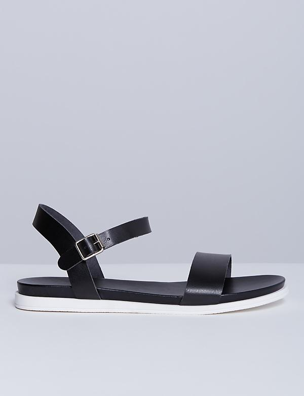 2-Strap Sandal with White Sole