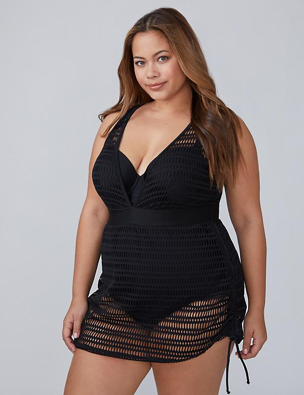Crochet Mesh Swim Dress with Built-In Balconette Bra
