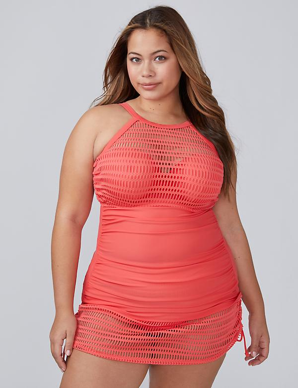 Crochet Mesh High-Neck Swim Tankini Top with Built-In Bandeau Bra