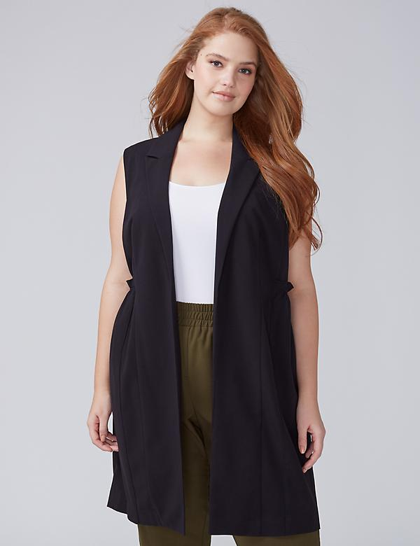 Tailored Stretch Ruffle-Waist Vest