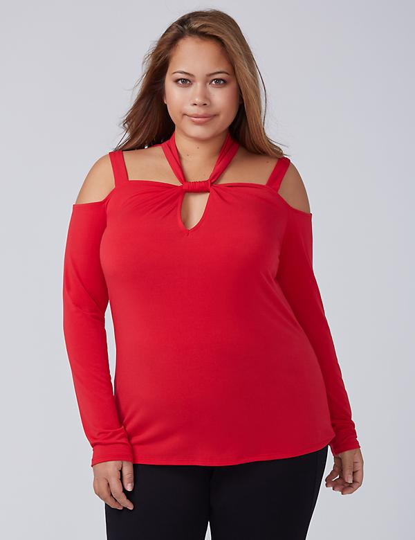 Cutout Twisted-Neck Top