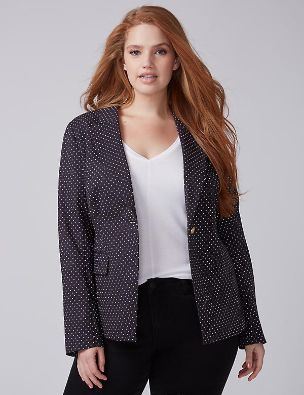 Bryant Blazer - Double Weave Stretch Polka Dot