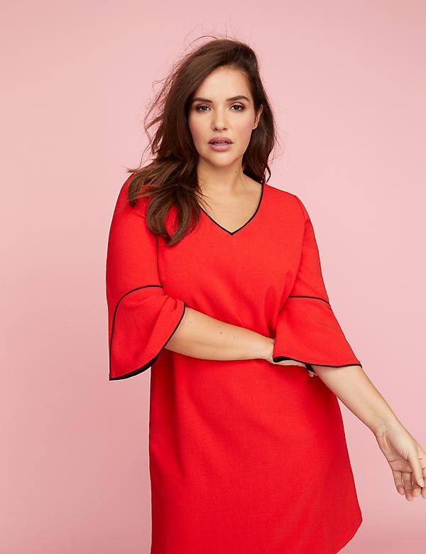 Bell-Sleeve A-Line Dress