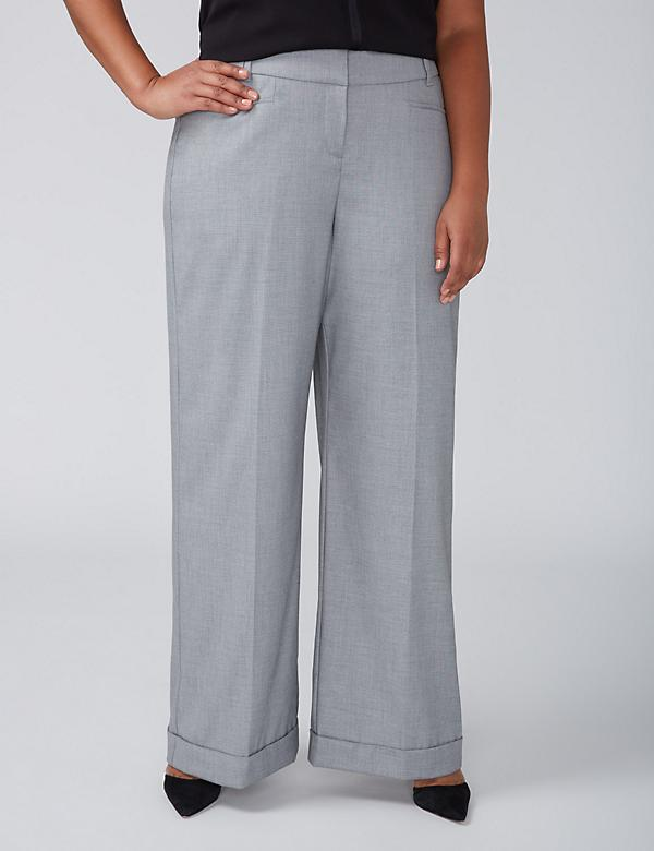Allie Tailored Stretch Wide Leg Pant - Cuffed Gray
