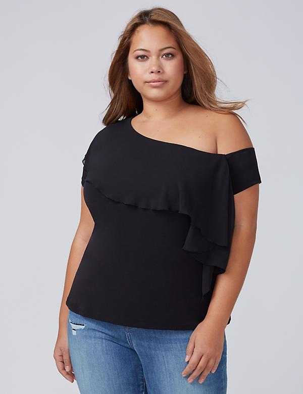 One-Shoulder Chiffon Ruffle Top