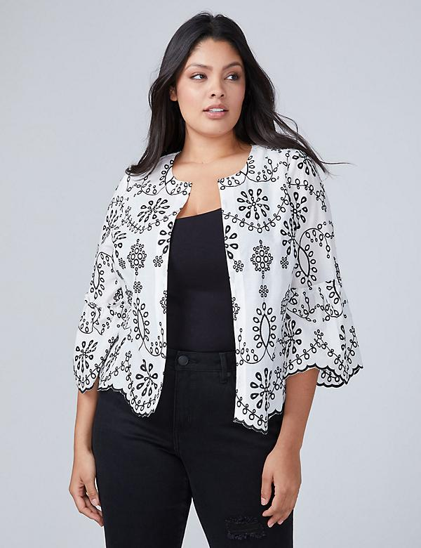 Embroidered Woven Jacket Top