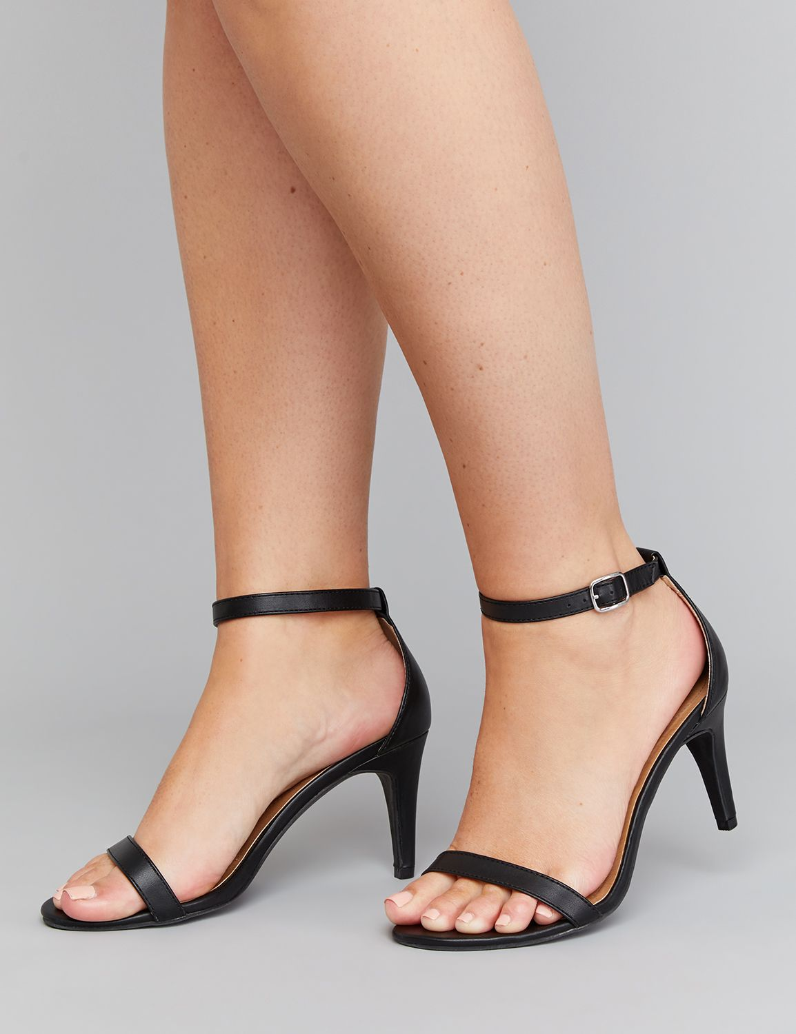 thin black strappy heels