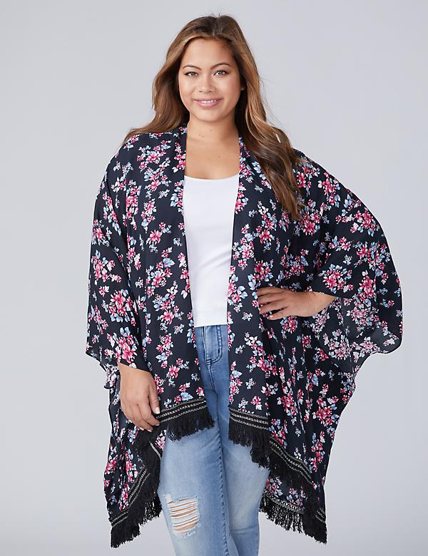 Floral Printed Kimono Overpiece with Fringe