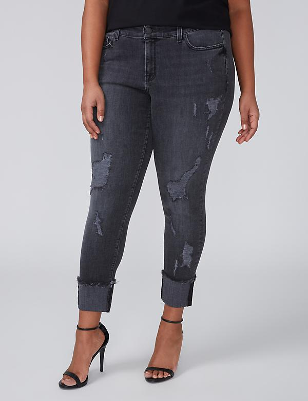 Wide-Cuff Straight Crop Jean - Destructed Black