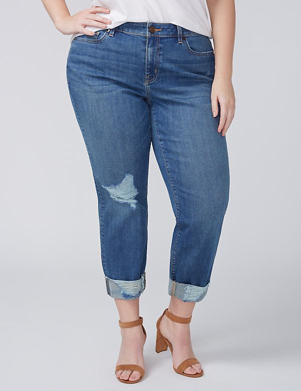 Girlfriend Crop Jean - Medium Wash