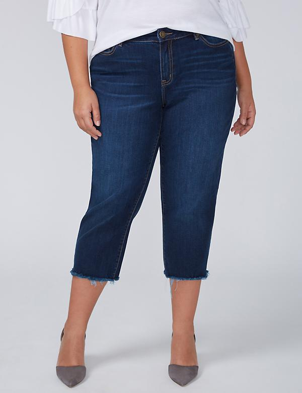 Girlfriend Crop Jean - Dark Iris Wash