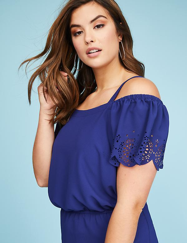 Scalloped Off-the-Shoulder Midi Dress