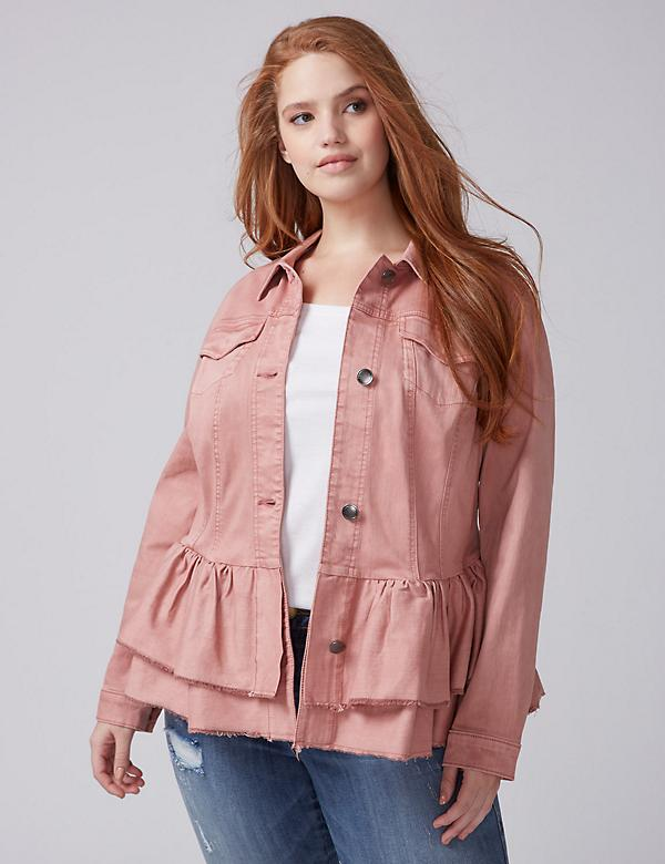 Double Ruffle Denim Jacket