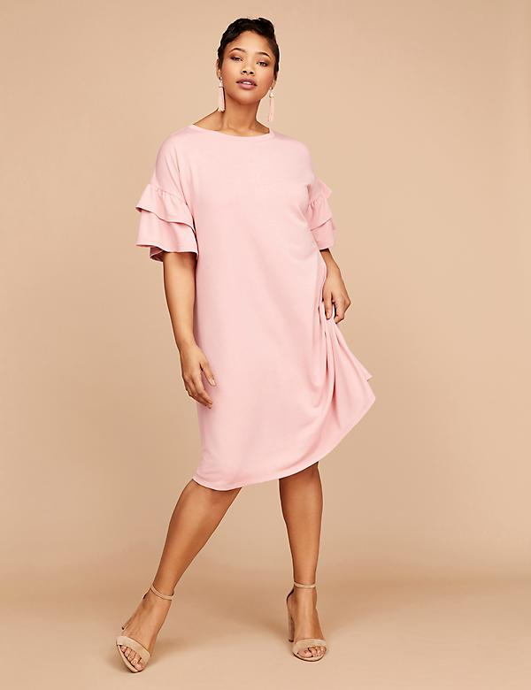 Flutter-Sleeve Sweatshirt Dress