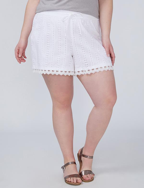 Eyelet Short with Crochet Trim