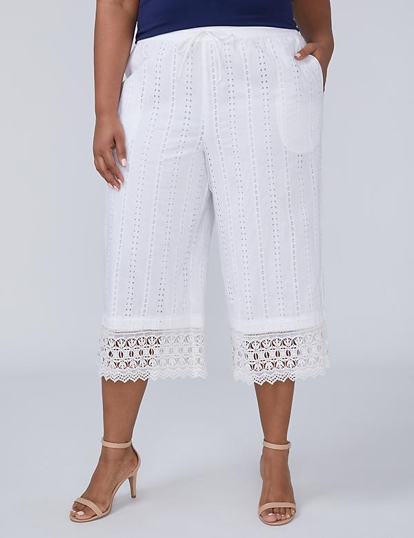 Eyelet Wide Leg Crop with Crochet Trim