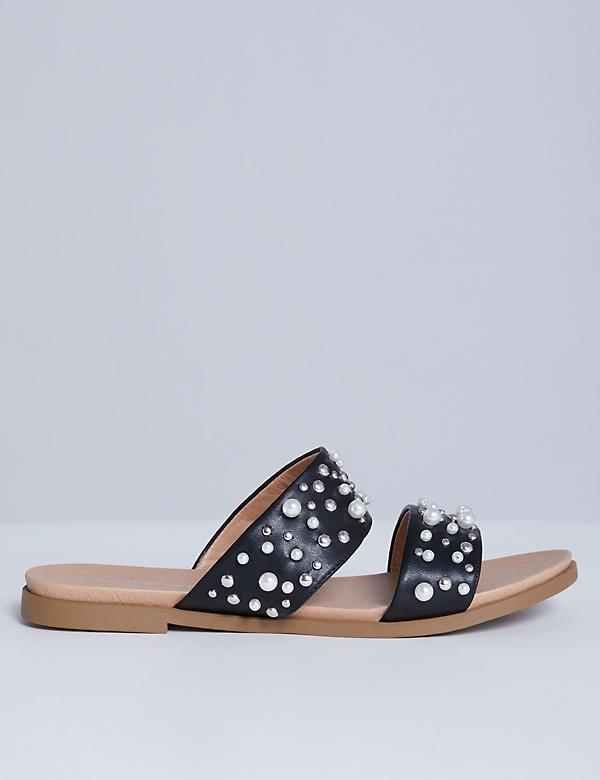 Studded 2-Band Sandal with Faux Pearls