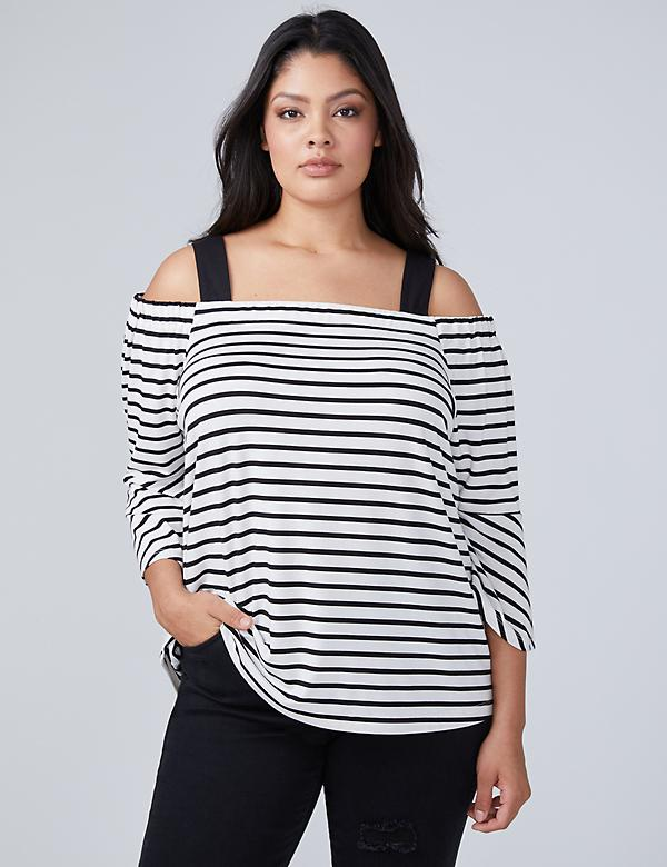 Bell-Sleeve Off-The-Shoulder Top