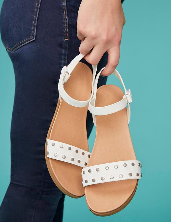 Studded Two-Strap Flat Sandal