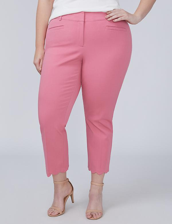 Allie Smart Stretch Crop - Scalloped Hem