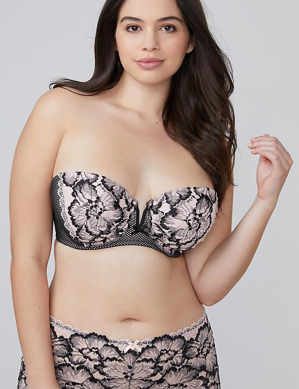Two-Tone Lace Lightly Lined Multi-Way Strapless Bra