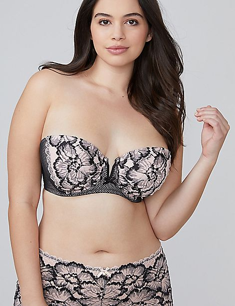 b04a43262f Two-Tone Lace Lightly Lined Multi-Way Strapless Bra