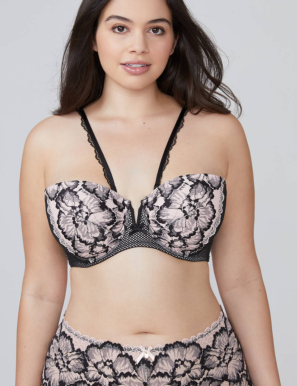 0e8c01f0ba Two-Tone Lace Lightly Lined Multi-Way Strapless Bra