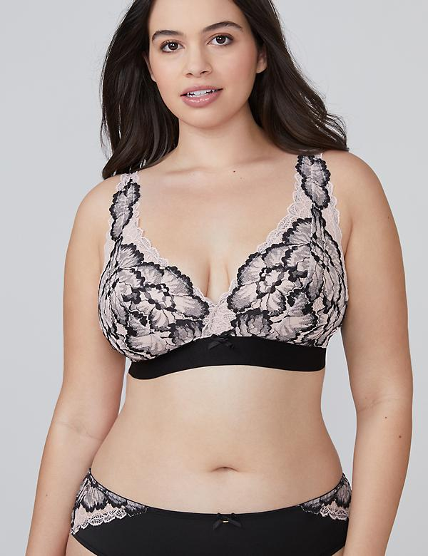 Two-Tone Lace Unlined No-Wire Bra