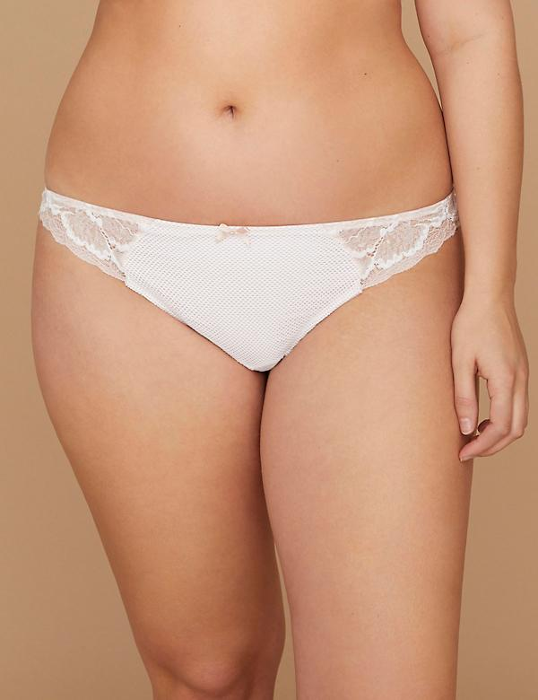 Fast Lane Two-Tone Lace & Mesh Thong Panty with Split Gusset