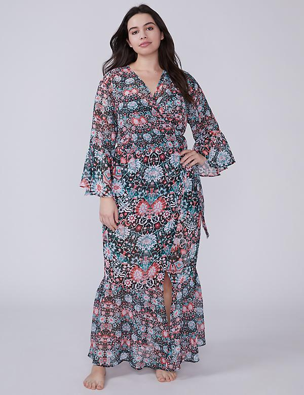 Wrap Maxi Cover-Up with Bell Sleeves