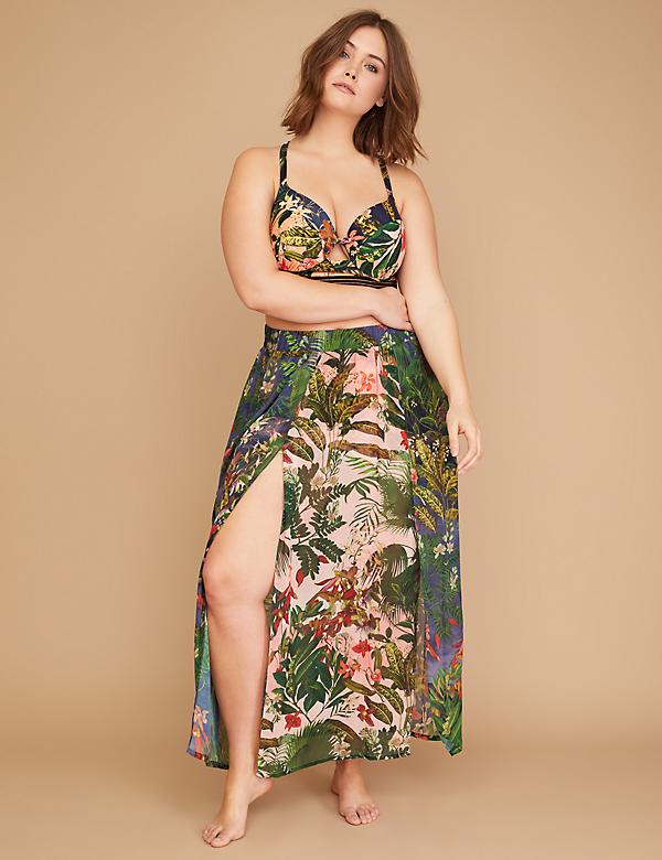 Floral Double Slit Cover-Up Maxi Skirt