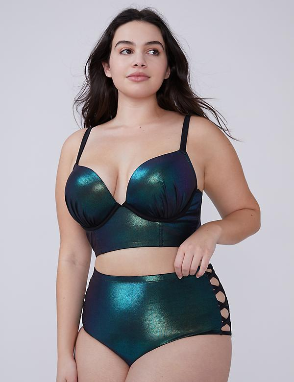 Iridescent Shimmer Swim Longline Bikini Top with Built-In Plunge Bra