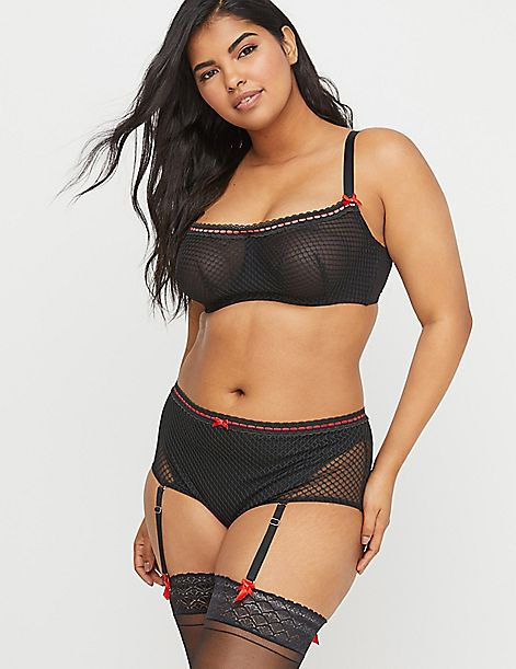 Fishnet & Ribbon Unlined Scoop Bandeau Bra