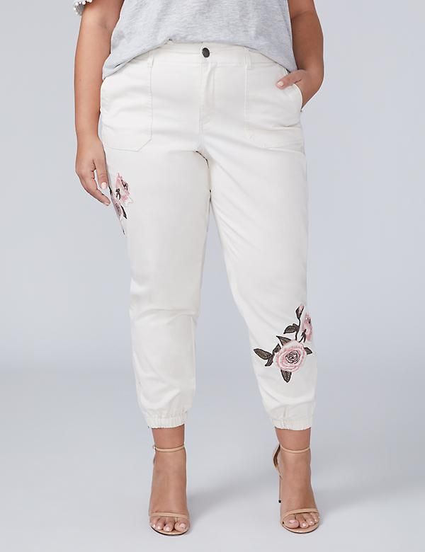 Embroidered Utility Ankle Pant