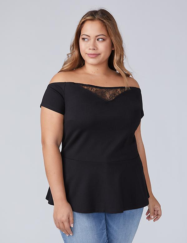 Ponte Off-the-Shoulder Peplum Top with Lace Inset